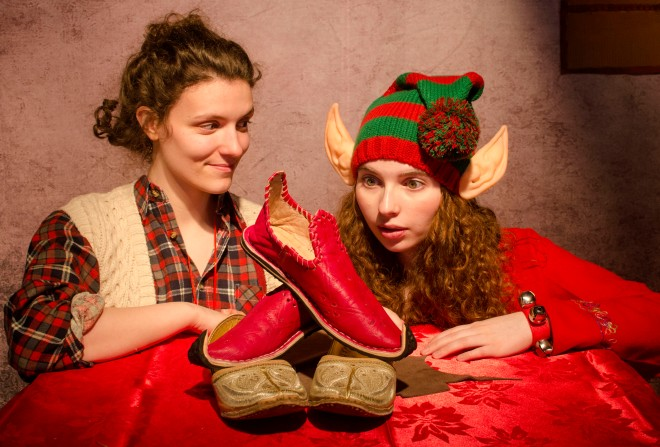 xmas shoemaker and elf. Copyright C Johnston Photography